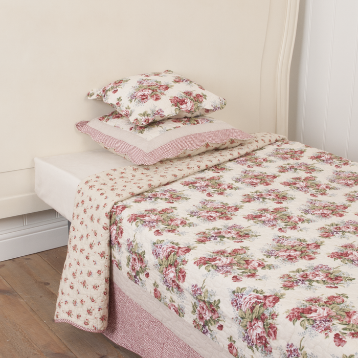 Classic English Rose Quilted Bedsprei 140 x 220 cm - roze/wit/rood