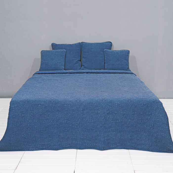 Plaid stonewashed look met ton-sur-ton borduurse 150 x 50 cm - denim blauw