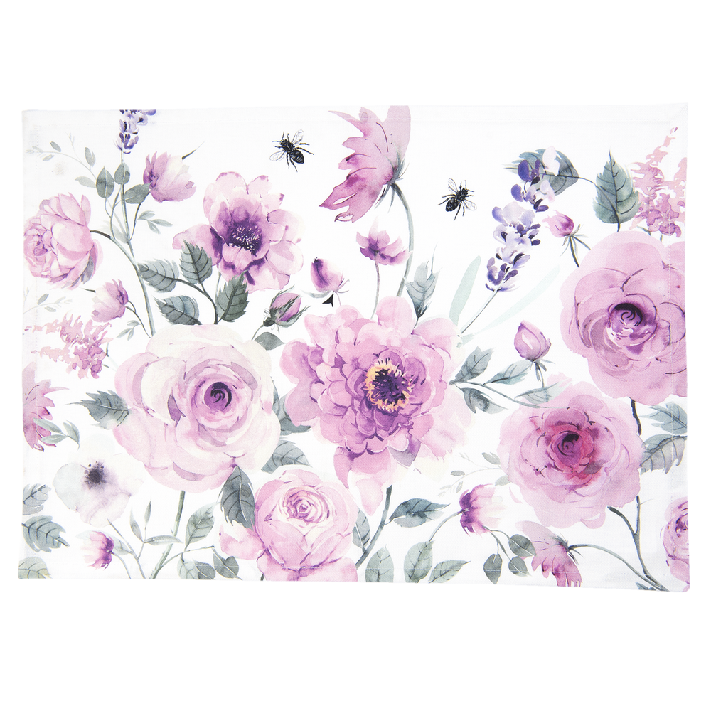 Roses and Butterflies Placemat 6 stuks - wit/fuchsia