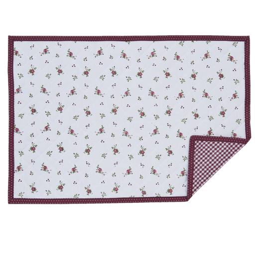 Roses Pour Louise Placemat 6 stuks - bordeauxrood/wit
