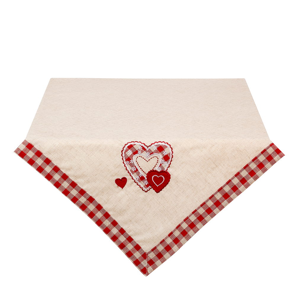 Tafelkleed Filled With Love met ornamented hart 85 x 85 cm - naturel/rood