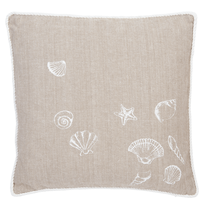 Beach House Stijl Kussenhoes Seashells 40 x 40 cm - naturel
