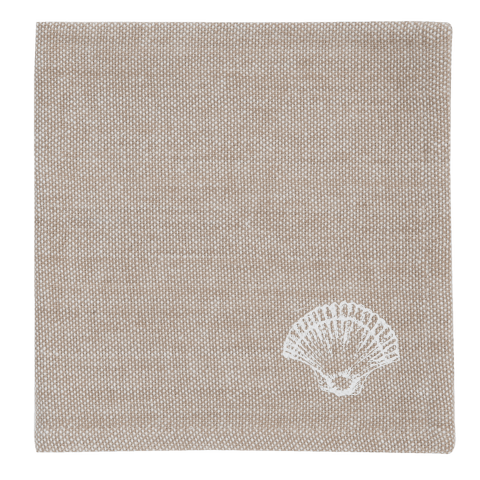 Beach House Stijl Servetten Seashells 6 stuks - naturel