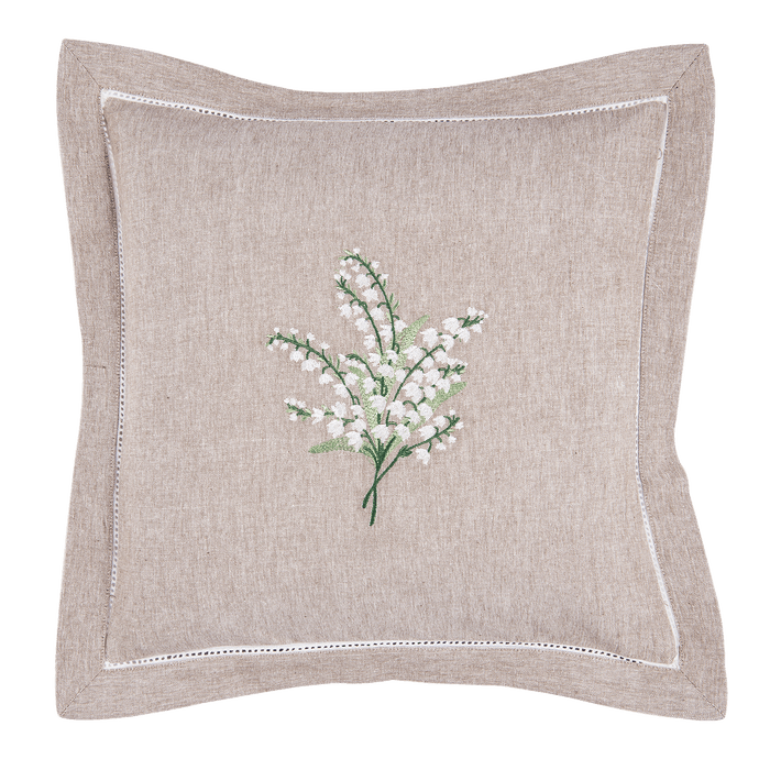 Kussenhoes Lily of the Valley met lelietjes van dalen 50 x 50 cm - naturel