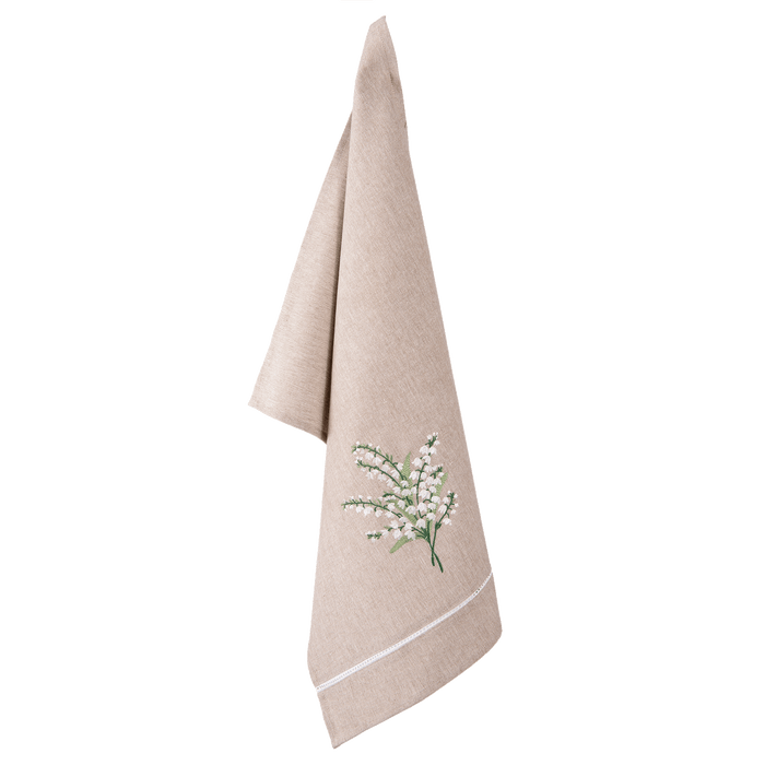 Keukendoek Lily of the Valley met lelietjes van dalen 50 x 70 cm - naturel