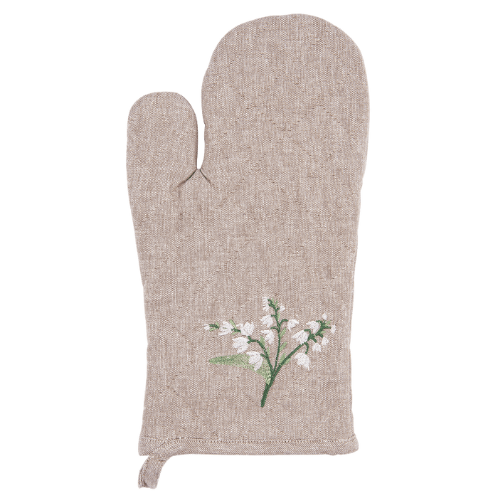 Ovenhandschoen Lily of the Valley met lelietjes van dalen - naturel
