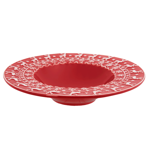 Kerstservies Cosy Winter Diep bord - rood/wit