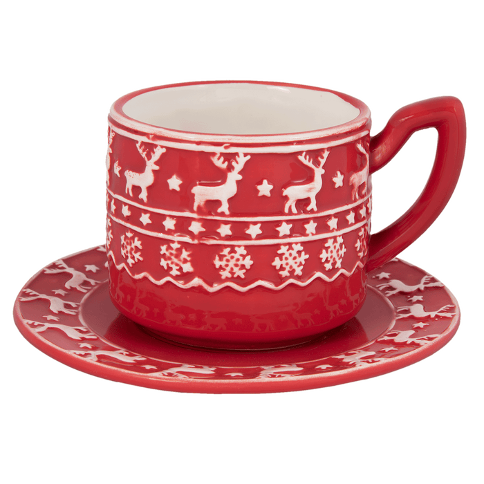 Kerstservies Cosy Winter Kop en schotel - rood/wit