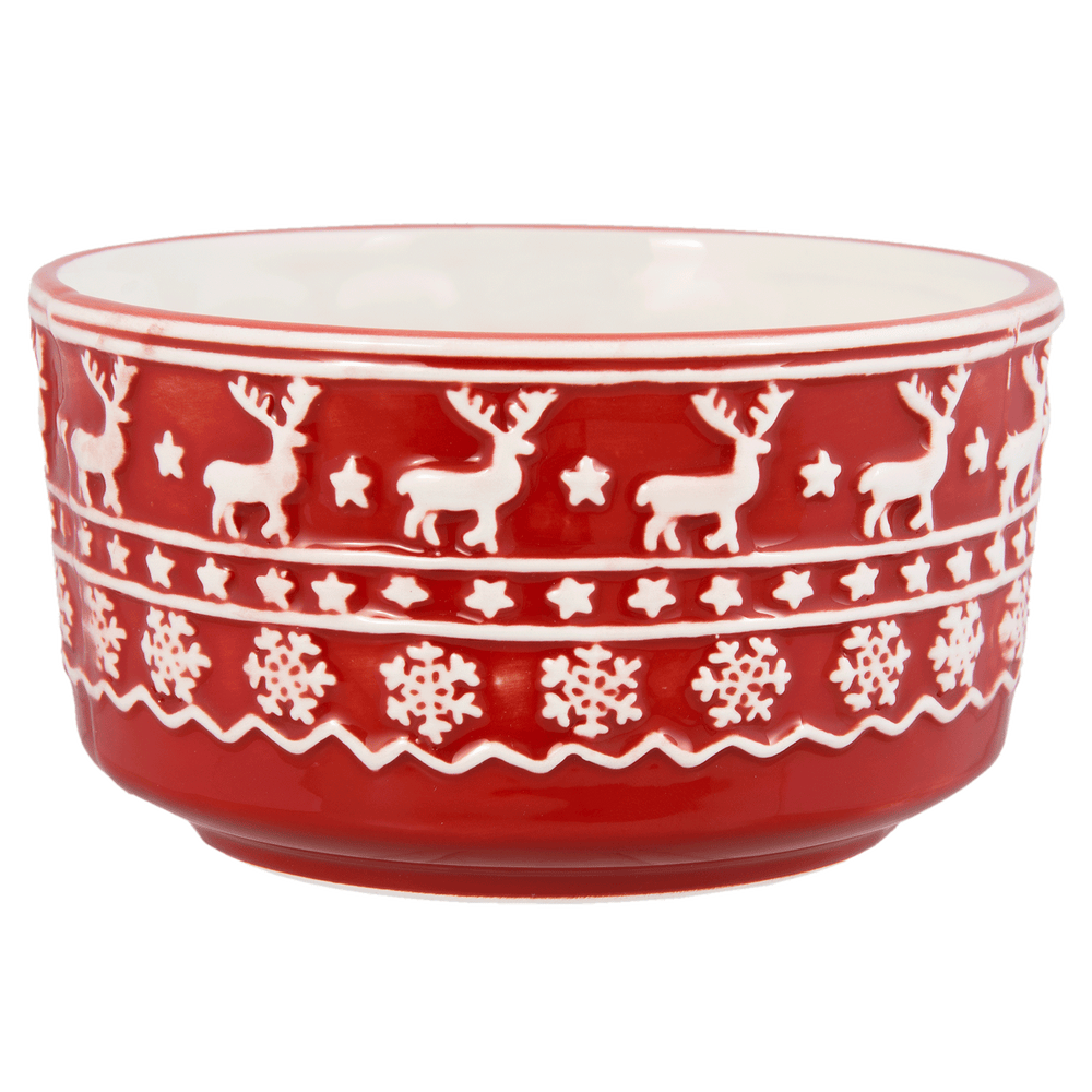 Kerstservies Cosy Winter Kom - rood/wit