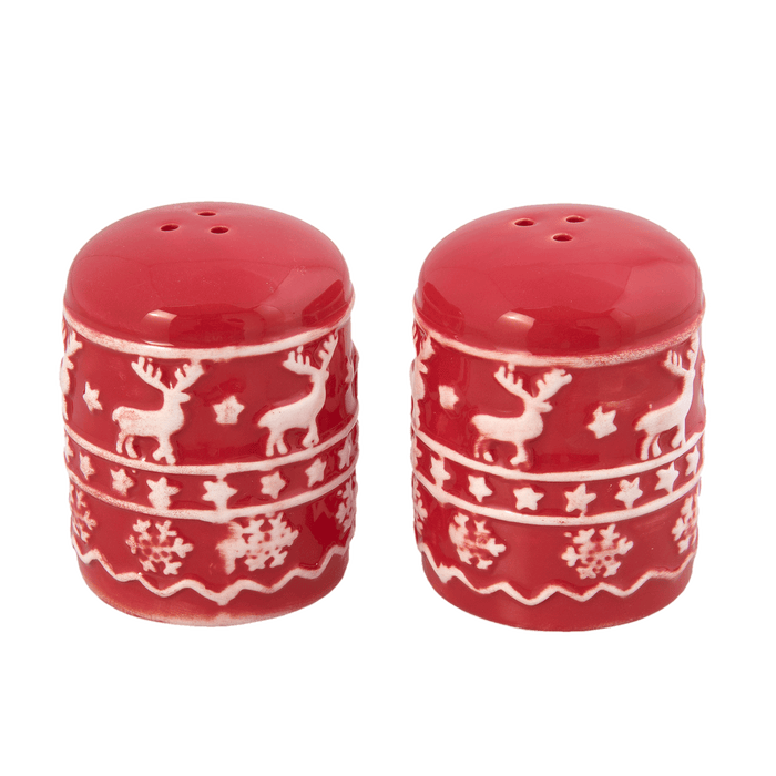 Kerstservies Cosy Winter Peper en Zoutstel - rood/wit