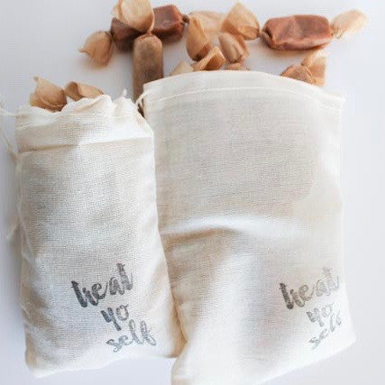 Treat Yo Self to Fleur de Sel Caramels - 1/4 Pound of Caramels in a Reusable Hand Stamped Muslin Bag