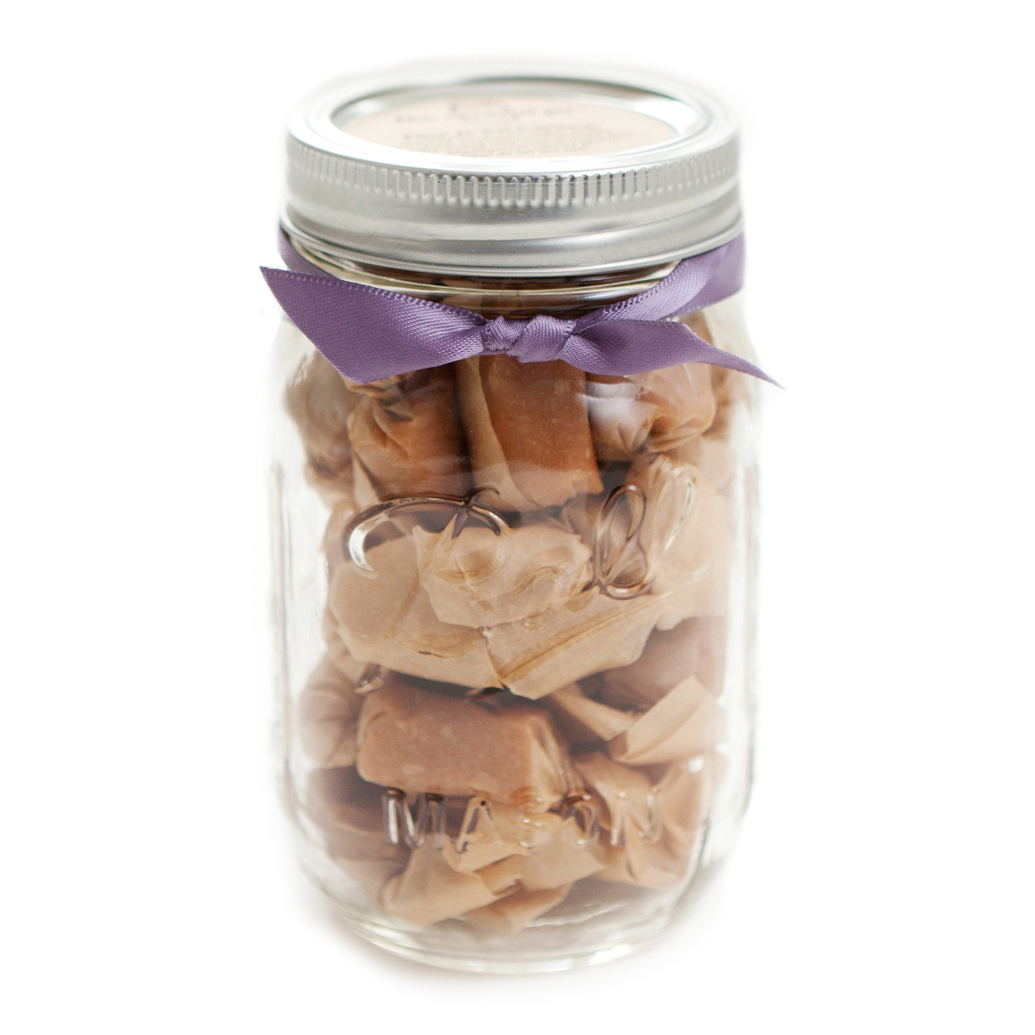 Thank You Gift, Teacher Gift, Boss Gift, Foodie Gift, Salted Caramels, Fleur de Sel Caramels - (1) 1/2 Pound Jar of Caramels