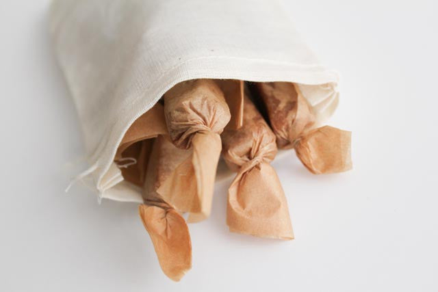 Fleur de Sel Caramels - (1) 1/2 Pound of Caramels in a Cotton Muslin Reusable Bag, Perfect for Gifting