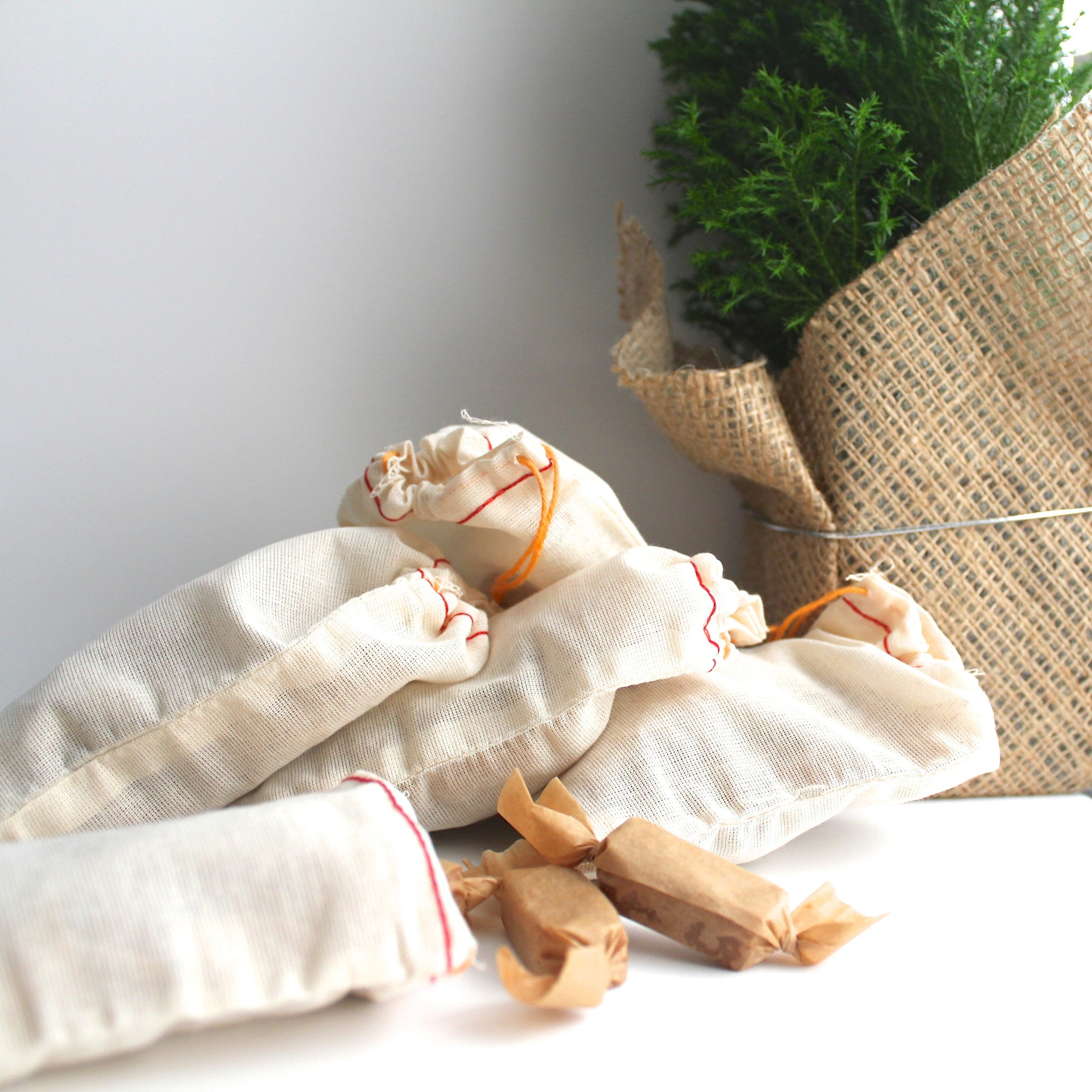 Stocking Stuffers / Fleur de Sel Salted Caramels / Muslin bag / {set of 5} 3oz pkgs