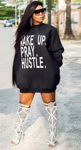 Wake Up, Pray, Hustle Sweater Dress