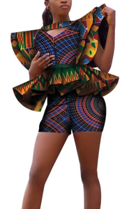 African Regal Show Stopper Fashion Shorts Runway Set