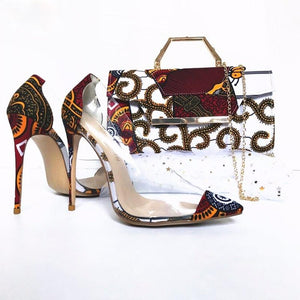 Dakar Rooftop Lounge Shoes with Matching Clutch and Fabric