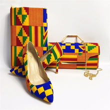 Load image into Gallery viewer, Kente Rooftop Lounge Shoes with Matching Clutch and 6 Yards Fabric