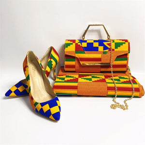 Kente Rooftop Lounge Shoes with Matching Clutch and 6 Yards Fabric