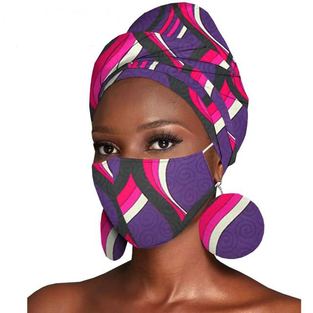 Nairobi Mask, Hair Wrap and Earrings
