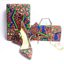 Load image into Gallery viewer, Nairobi Rooftop Lounge Shoes with Matching Clutch and 6 Yards Fabric