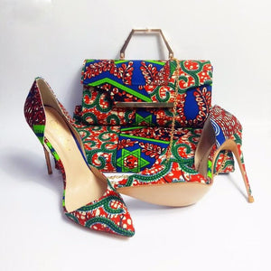 Nairobi Rooftop Lounge Shoes with Matching Clutch and 6 Yards Fabric