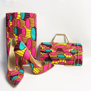 Lagos Rooftop Lounge Shoes with Matching Clutch and 6 yards Fabric