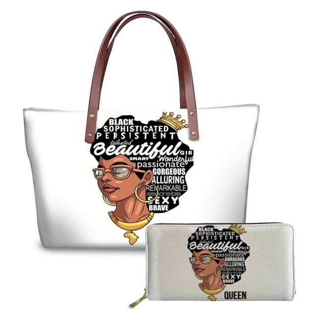 Black Queen Afrocentric On-The-Go Queen Bag and Wallet