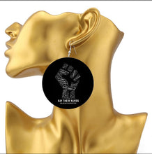 Load image into Gallery viewer, Say Their Names Black Lives Matter Slain Tribute Earrings