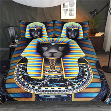 Load image into Gallery viewer, Black Panther Egyptian Pharaoh Bedding Set