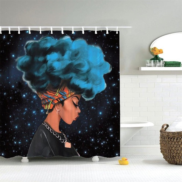 Night Sky Big Hair Don't Care Shower Curtain