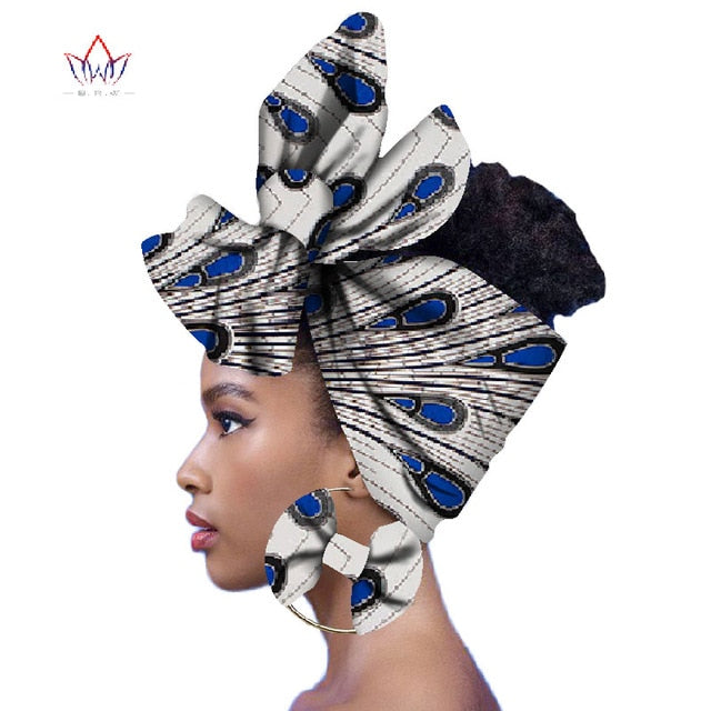 Ankara Queen Fashion Headwrap and Matching Earrings
