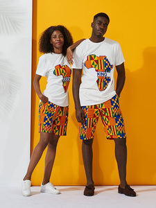 King and Queen Kente Heritage Couples Travel Set