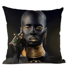 Load image into Gallery viewer, Fashion Model Black Gold Tribal Pillow Case