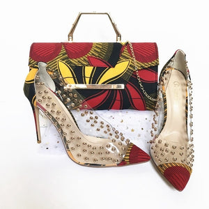 Kenya Rooftop Lounge Shoes with Matching Clutch and Fabric