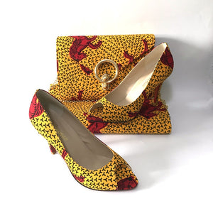 Morocco Rooftop Lounge Shoes with Matching Clutch and Fabric