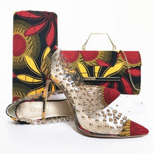 Load image into Gallery viewer, Kenya Rooftop Lounge Shoes with Matching Clutch and Fabric