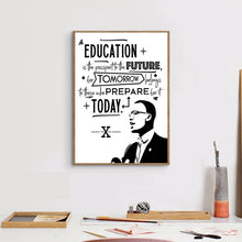 Load image into Gallery viewer, Malcolm X, Education and the Future Canvas Unframed Poster