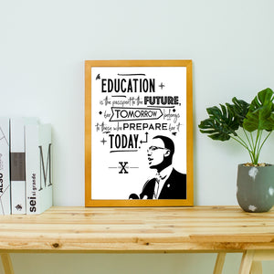 Malcolm X, Education and the Future Cancas Unframed Poster