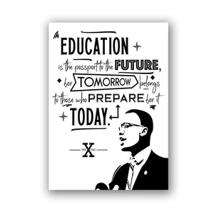 Malcolm X, Education and the Future Canvas Unframed Poster