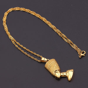 20K Black Kemetic Gold Queen Gold Plated Necklace