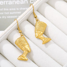 Load image into Gallery viewer, Kemetic Black Egyptian Queen 18K Gold Plated Earrings