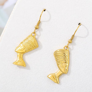 Kemetic Black Egyptian Queen 18K Gold Plated Earrings