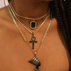 Lab Created Black Onyx Gold Plated Stacked Necklace