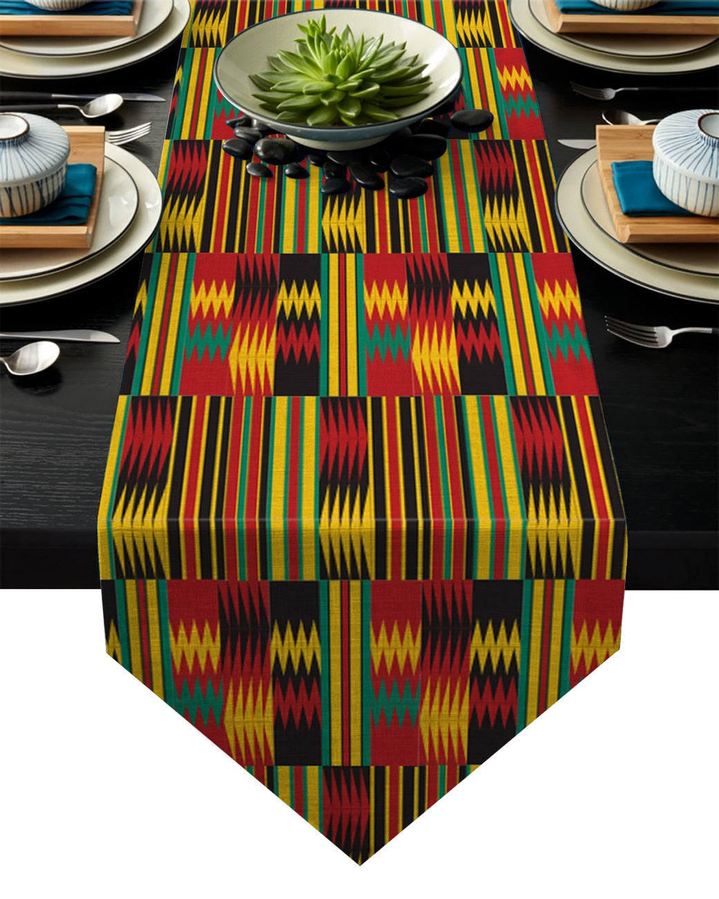 Traditional Africa Kente Kwanza Heritage Table Banner