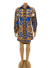Load image into Gallery viewer, Black Gold Lion's Crest Fashion Dress