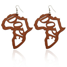 Load image into Gallery viewer, Mahogany Wood African Detail Earrings
