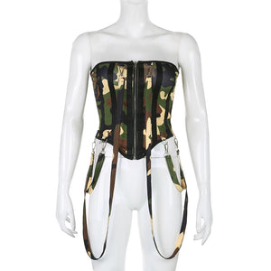 Chain Camo Corset Fashion Bodysuit
