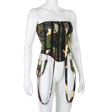 Load image into Gallery viewer, Chain Camo Corset Fashion Bodysuit