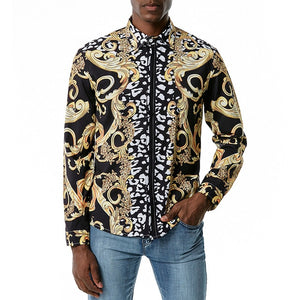 Gold Standard Melanin Crest Zebra Collared Shirt